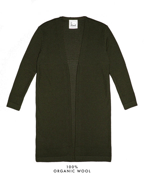 Fiord Seed Long Cardigan - Dark Green (Army)