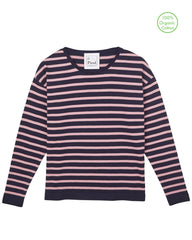 Flora Cotton Stripe Jumper - Navy/Light Rose
