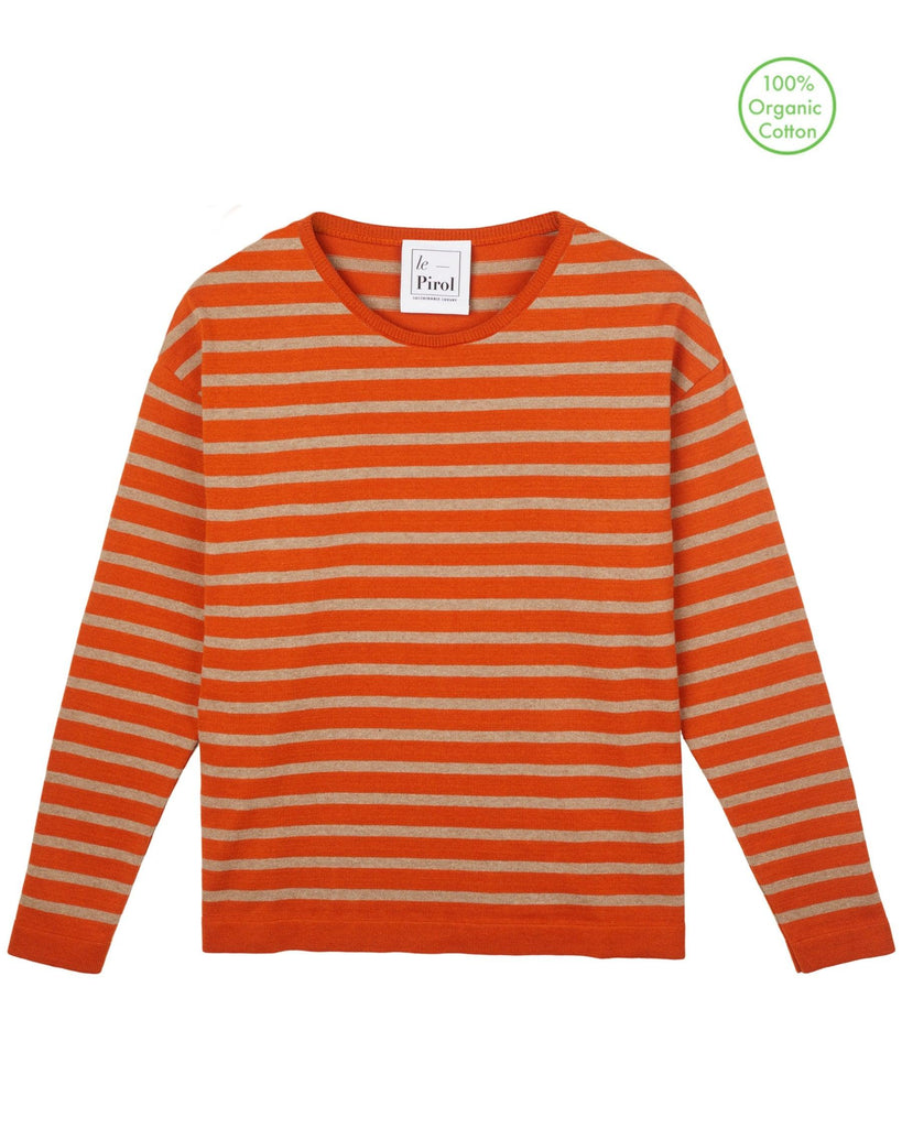 Flora Cotton Stripe Jumper - Burnt Orange/Beige