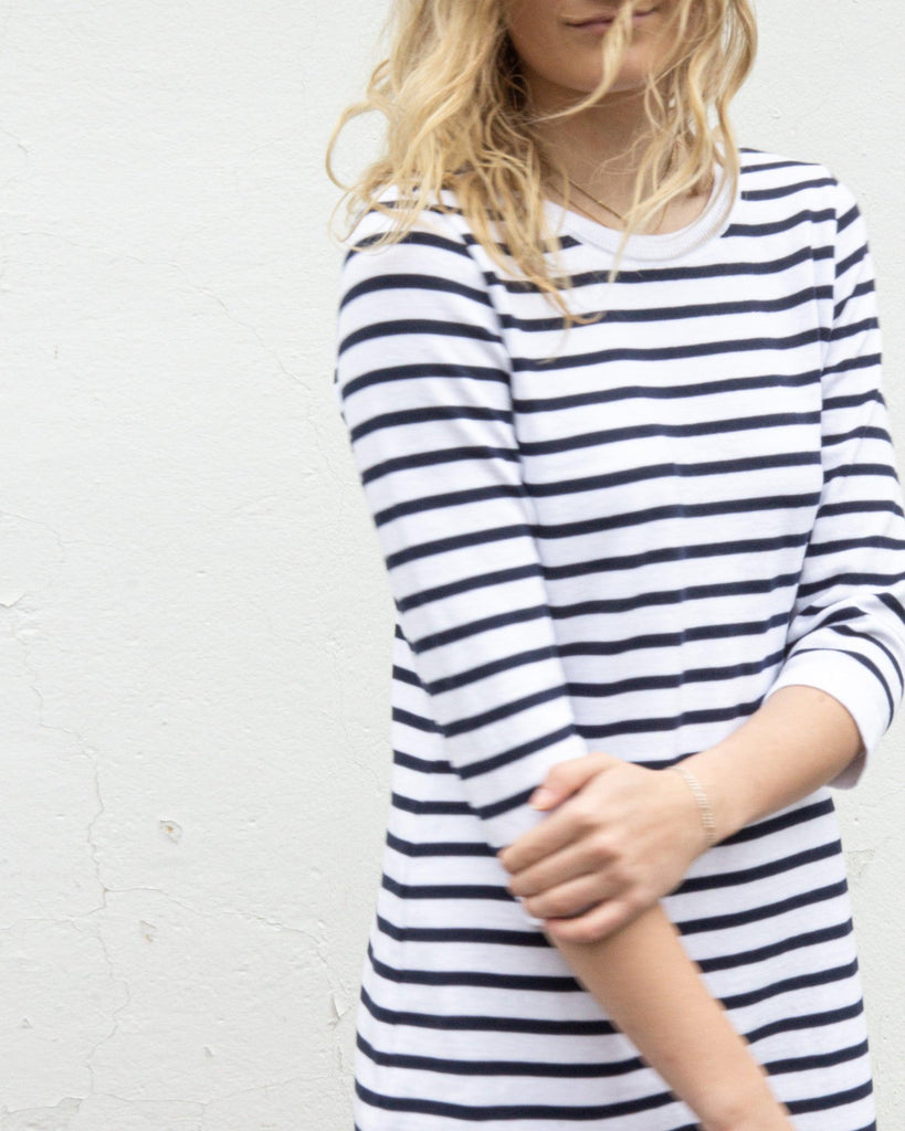 Flora Cotton Stripe Dress - White/Navy