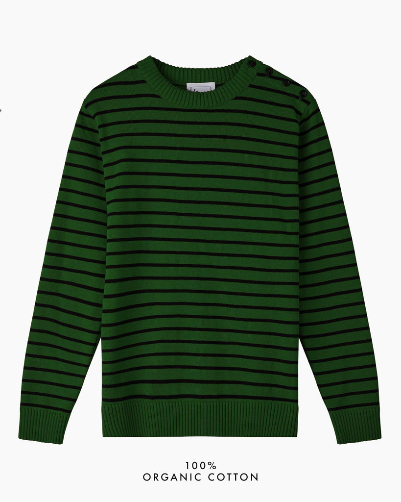 Coastal Stripe Cotton Jumper - Dark Green/Navy