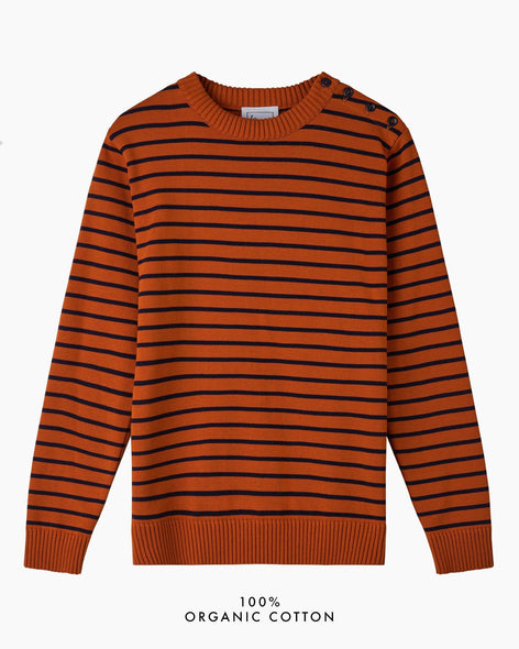 Coastal Stripe Cotton Jumper - Burnt Orange/Navy