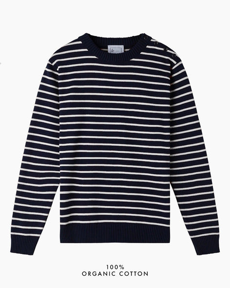 Coastal Stripe Cotton Jumper - Navy/White