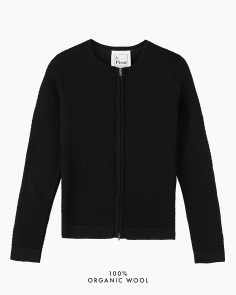 Fiord Seed Zip Cardigan - Black