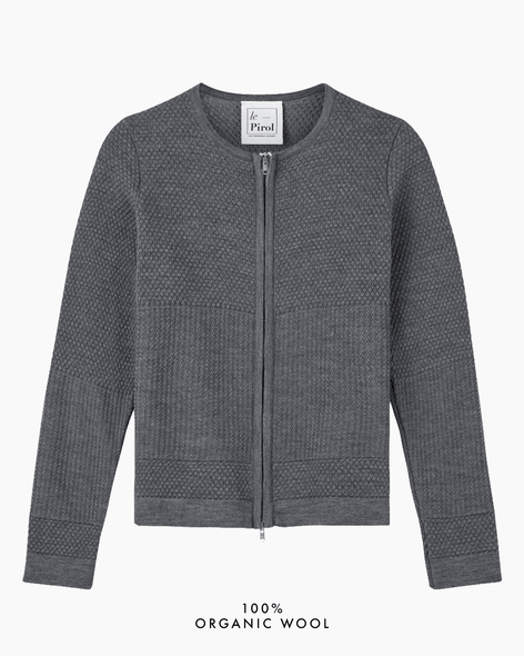 Fiord Seed Zip Cardigan - Grey