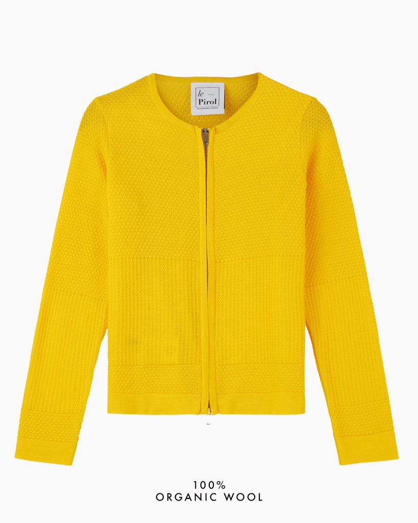 Fiord Seed Zip Cardigan - Yellow
