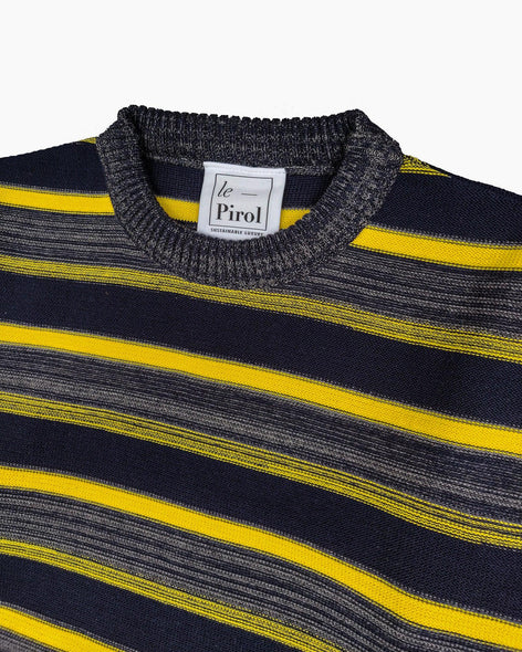 Midnight Grove Cotton Jumper - Navy/Yellow/Grey