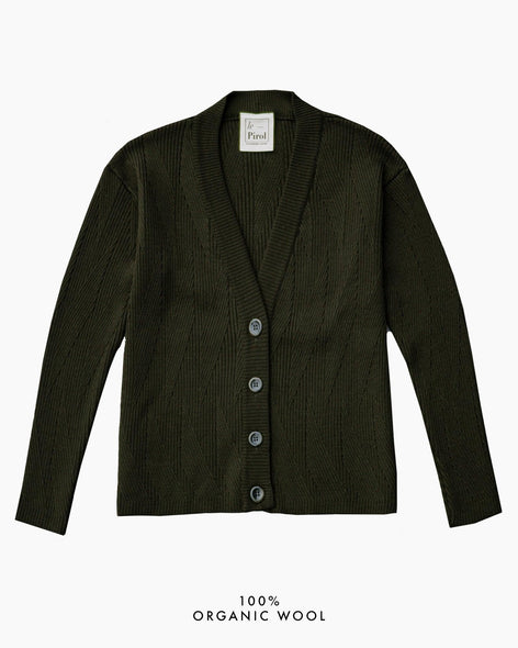 Painters Brush Cardigan - Dark Green (Army)