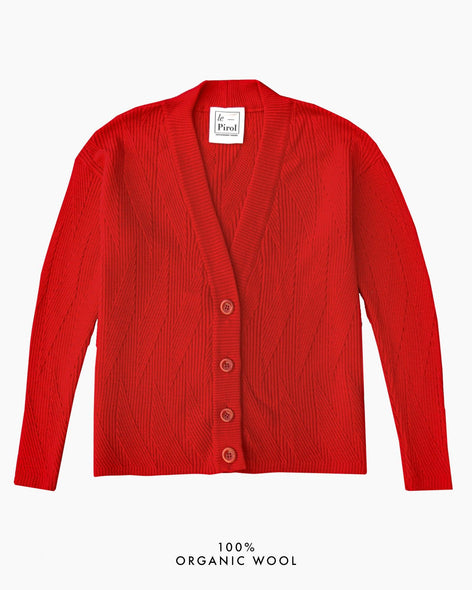 Painters Brush Cardigan - Red