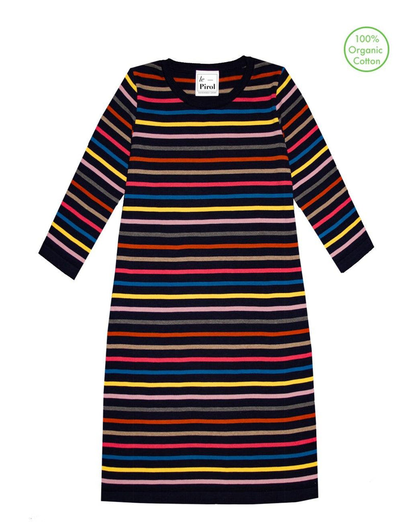 Flora Cotton Stripe Dress - Navy/Multi