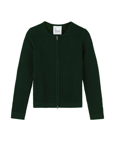 Fiord Seed Zip Cardigan - Dark Green (Army)