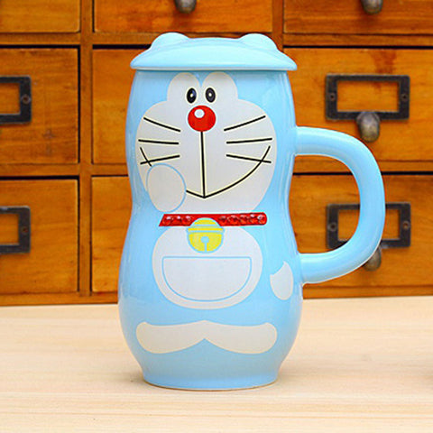 Cartoon Doraemon Ceramic Milk Coffee Mug with Lid