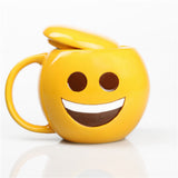 Cool Emoji Yellow Ceramic Coffee Mug with Lid