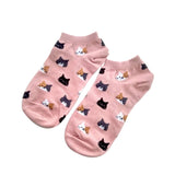 Cute cat face pink printed ankle socks for women