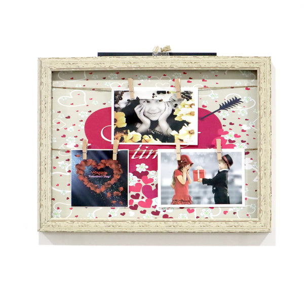 Wooden photo frame with hanging pics