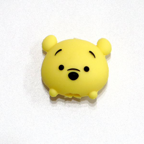 Yellow bear head shaped iphone cable protector