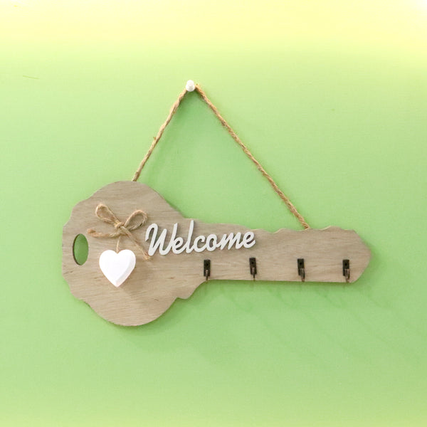 Wood key holder Key shaped hanging for Home and Office