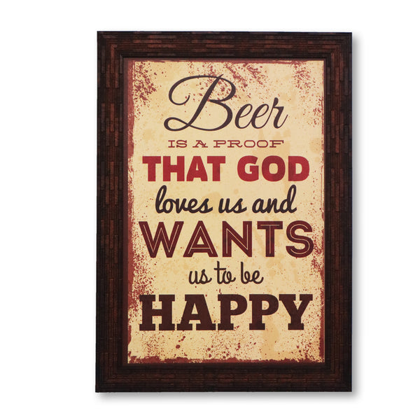 Beer God happy washable poster with frame