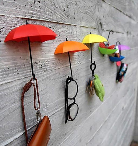 Umbrella Drop Style Clothes Key Hat Wall Hanger Hooks Set of 3 Pcs