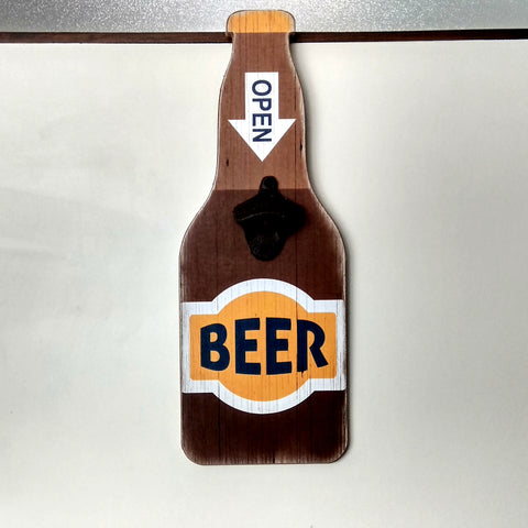 Wall mount beer bottle opener brown