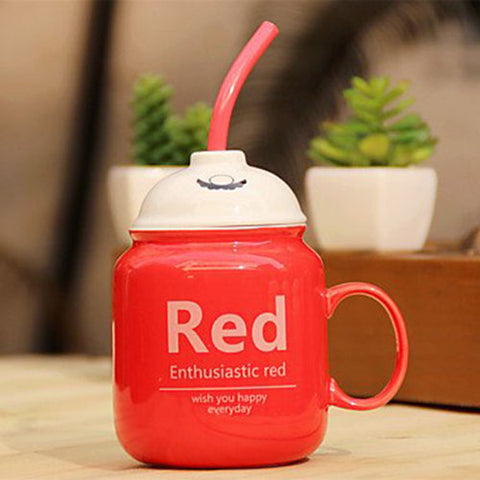 Bottle Straw Ceramic Mug