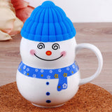 Christmas Snowman Cartoon Ceramic Mug with Silicon Lid Cover