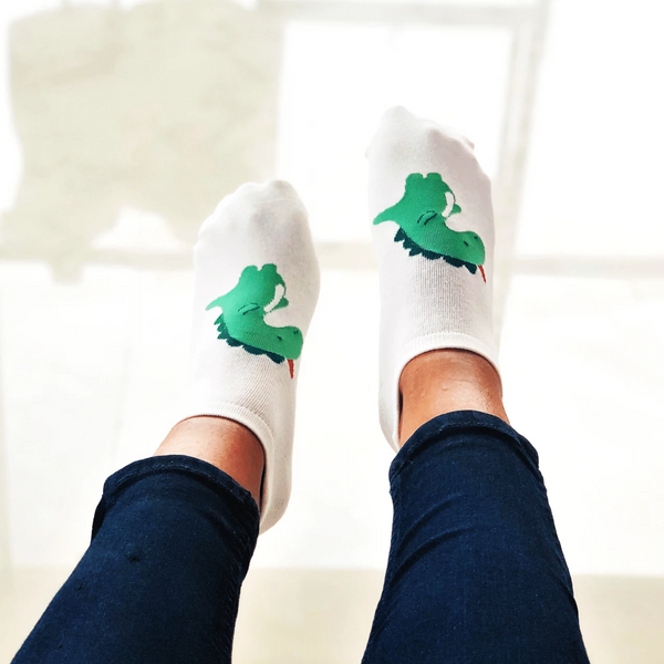 Dinosaur printed ankle socks for women