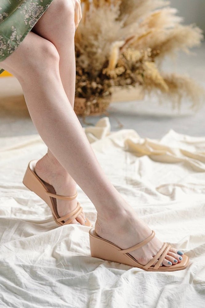 Allegra Strappy Wedges in Nude