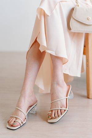 Alexis Strappy Clear Heels in Ecru