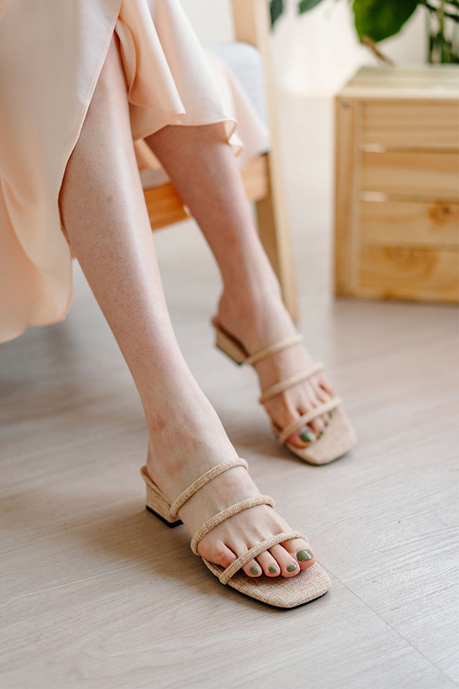 Bella Strappy Heels in Linen Sand