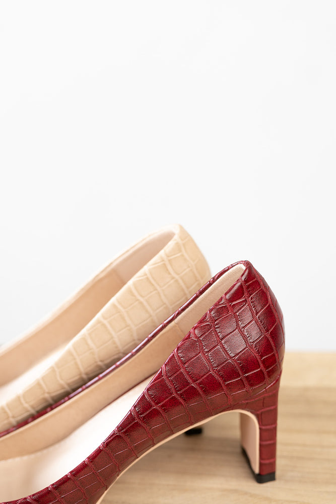 Load image into Gallery viewer, Bobbi Heels in Crocodile Wine