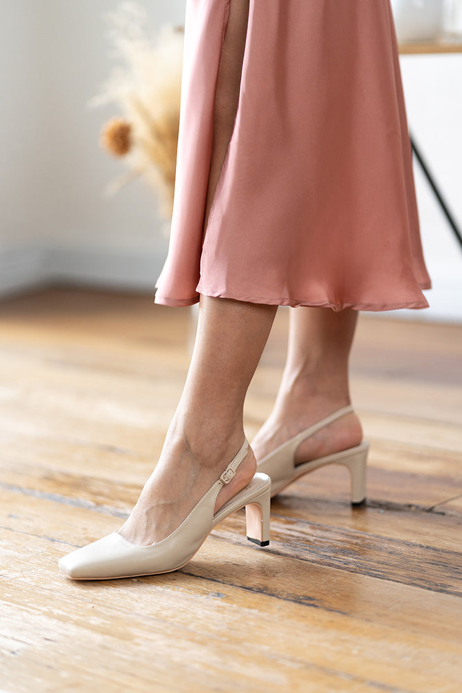Bobbi Heels in Leather Cream