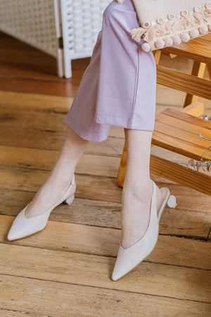Load image into Gallery viewer, Rhonda Round Heels in Cream