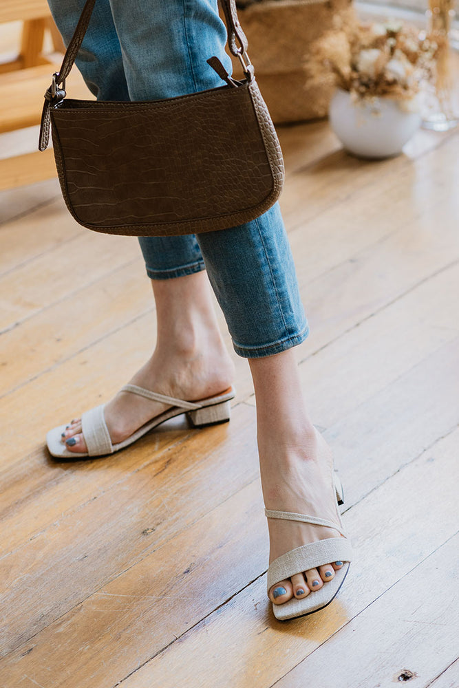 Odette Slant Heels in Linen Cream