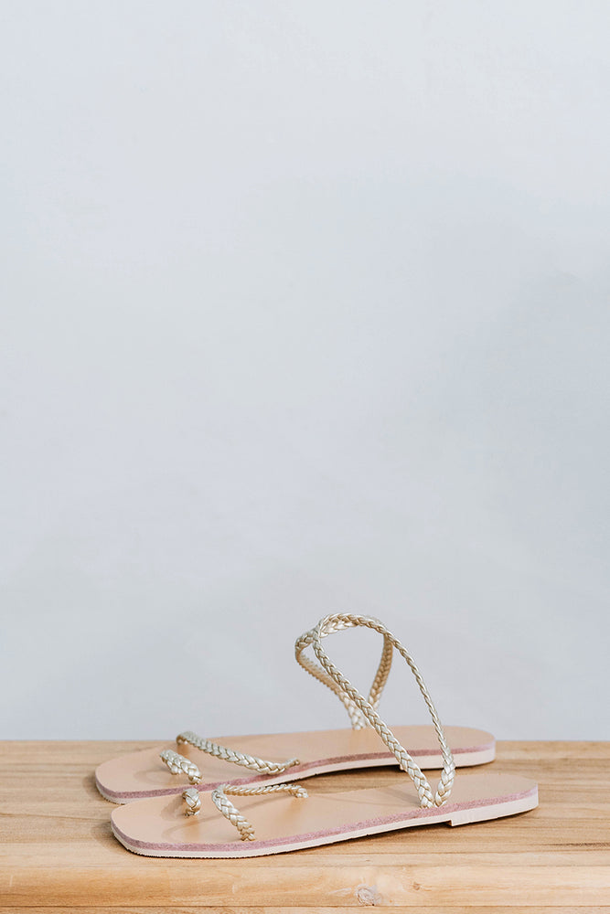Athena Woven Sandals in Gold