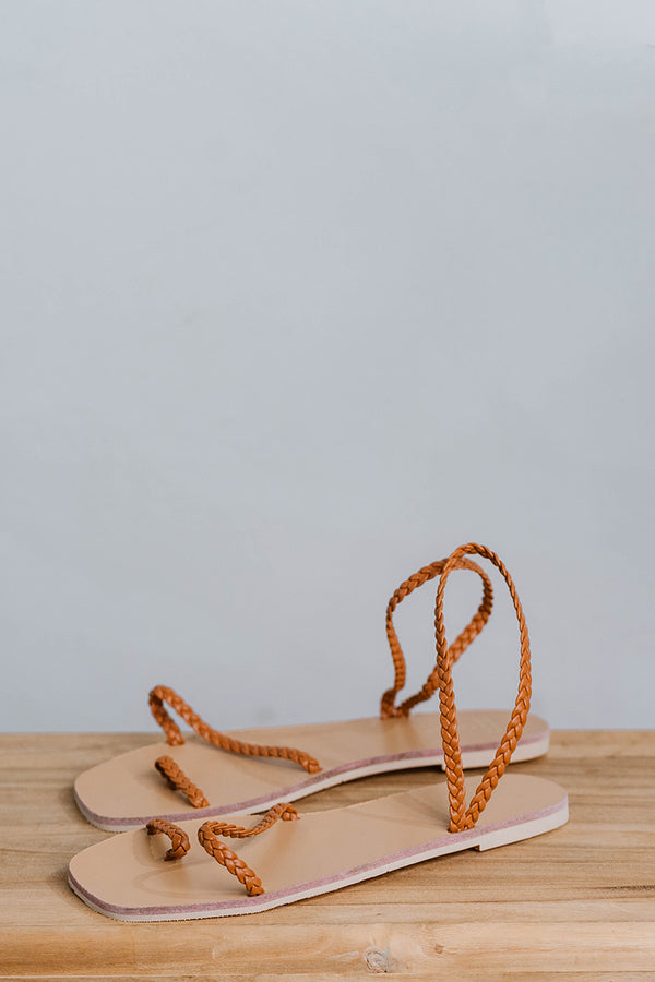 Athena Woven Sandals in Camel