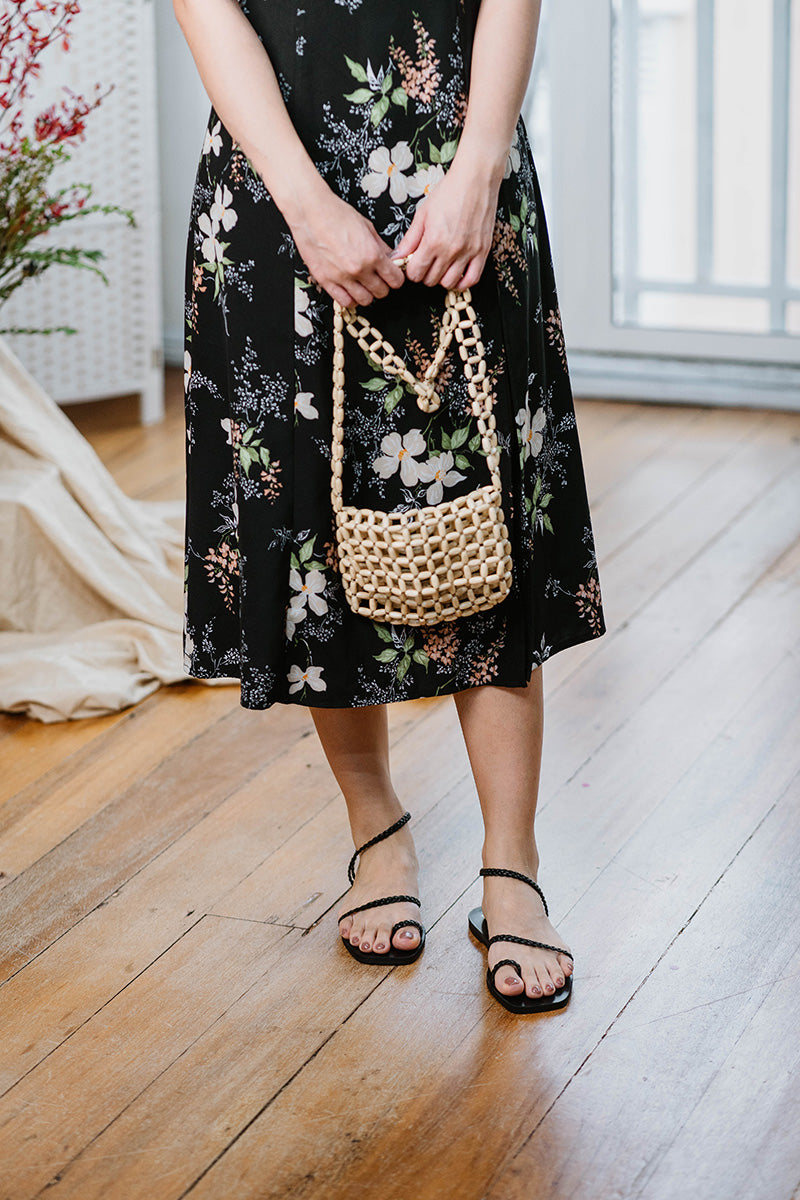 Athena Woven Sandals in Black