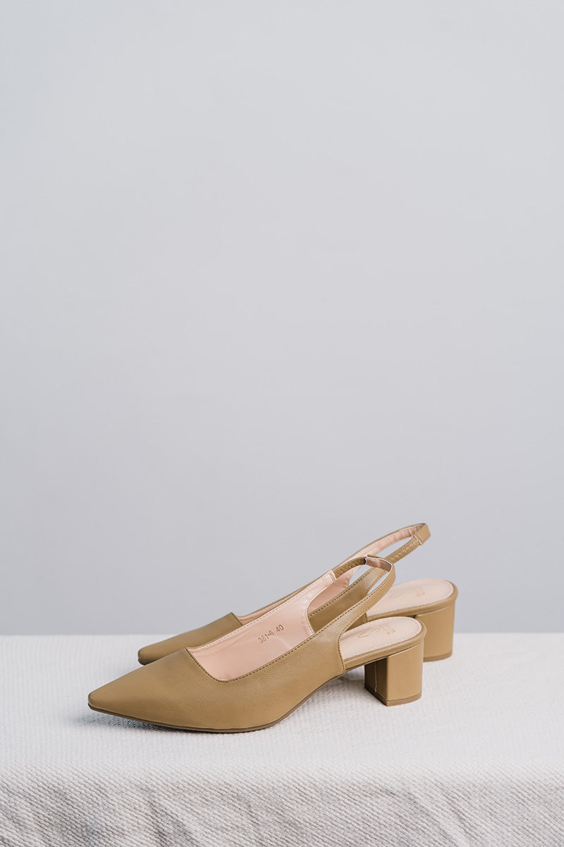 Holly Slingback Heels in Olive