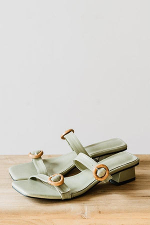 Load image into Gallery viewer, Ruthie Buckle Heels in Sage