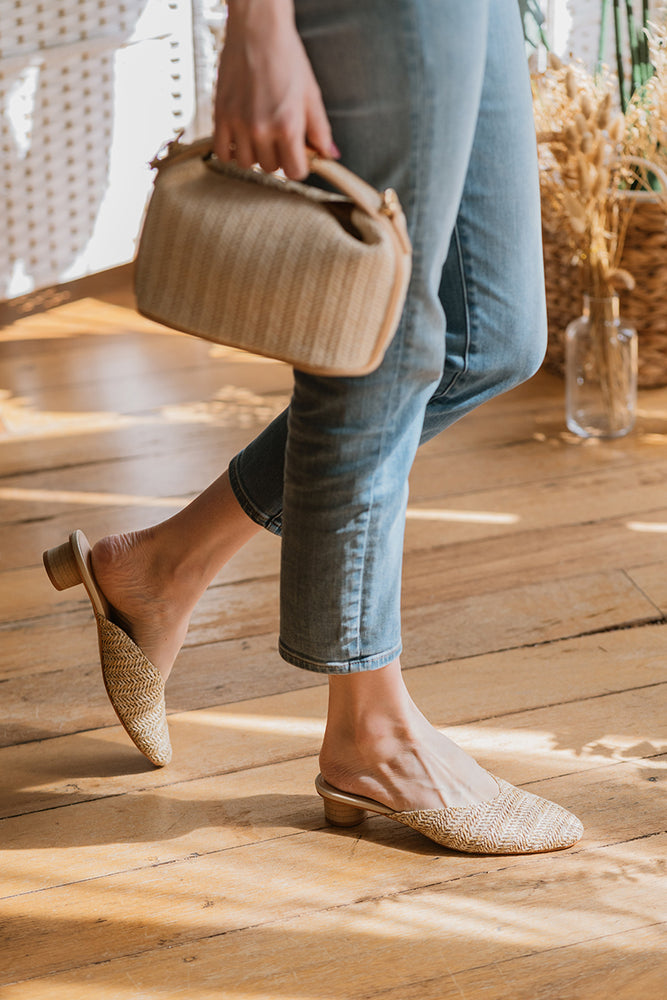 Becky Rattan Sliders in Sand