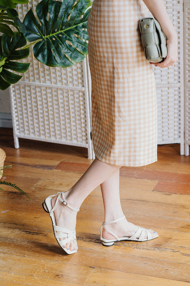 Load image into Gallery viewer, Bondi Low-Heel Sandals in Cream