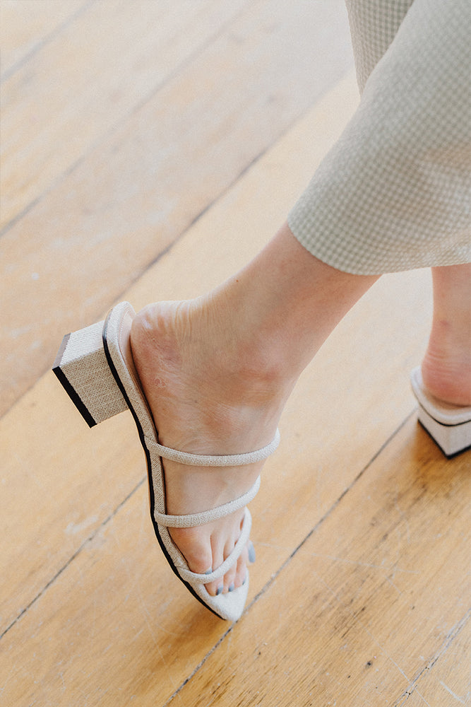Load image into Gallery viewer, Bella Strappy Heels in Linen