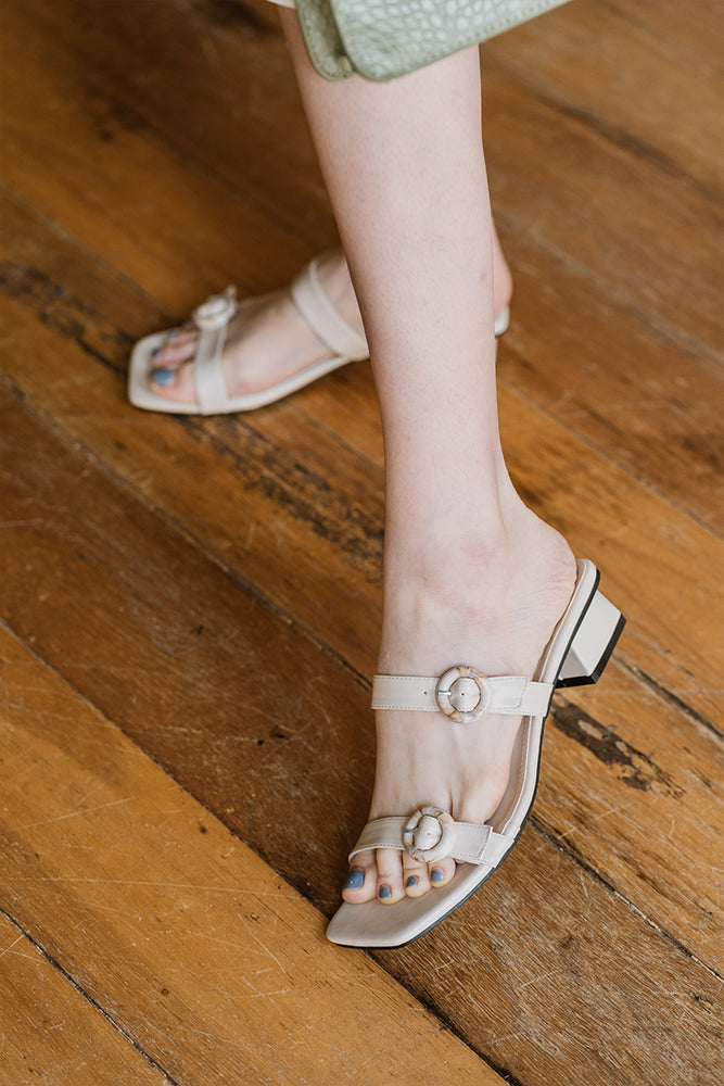 Ruthie Buckle Heels in Cream