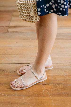 Load image into Gallery viewer, Athena Woven Sandals in Gold
