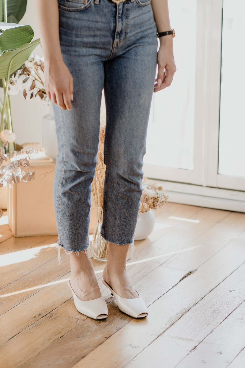 Piper Slip-on Heels in Cream
