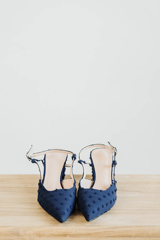 Load image into Gallery viewer, Adalyn Swiss Dots Heels in Midnight Blue