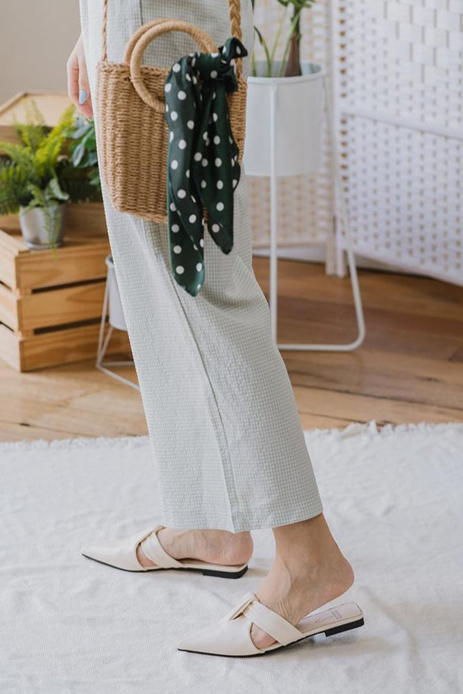 Callie Slip on Mules in Cream