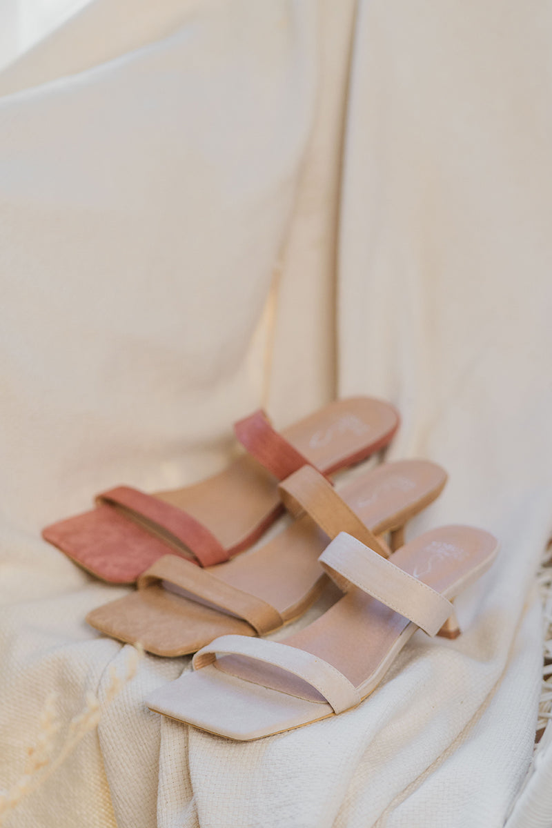 Brooke Suede Strappy Heels in Cream