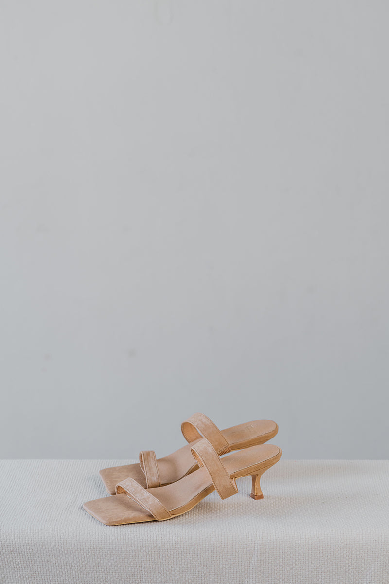 Brooke Suede Strappy Heels in Nude