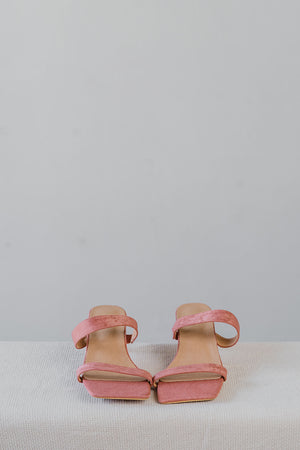 Load image into Gallery viewer, Brooke Suede Strappy Heels in Rose